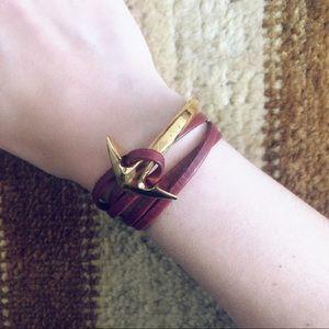 Miansai Gold Anchor Bracelet with Burgundy Leather